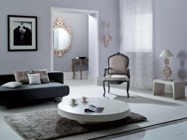 Modny salon w kolorze jedwabnego popielu